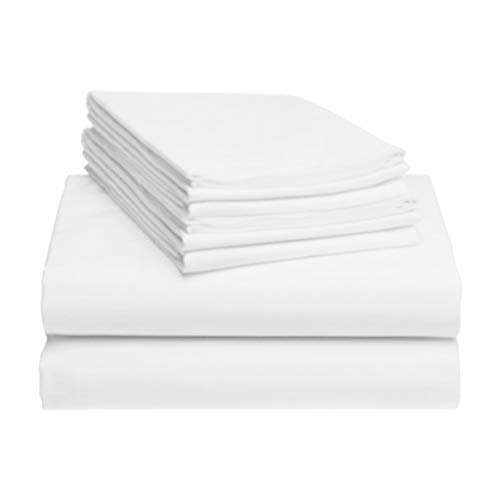 LuxClub 6 PC Sheet Set Bamboo Sheets Deep Pockets 18' Eco Friendly Wrinkle Free Sheets Hypoallergenic Anti-Bacteria Machine Washable Hotel Bedding Silky Soft - White Queen