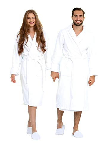 Eco Linen Luxury Bathrobe Towel, ultimate combed organic Terry Cotton cloth Spa Robe for Men Women, Unisex Bathrobe with Slipper Set- White, Large