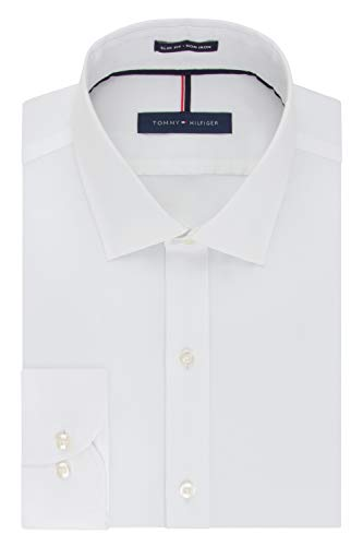 Tommy Hilfiger Men's Non Iron Slim Fit Solid Spread Collar Dress Shirt, White, 15' Neck 34'-35' Sleeve