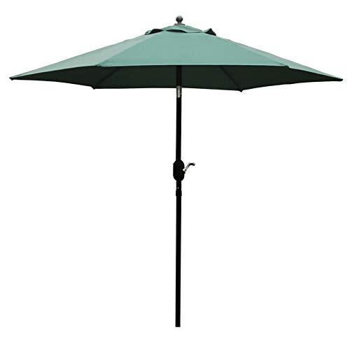 Sunnyglade 7.5' Patio Umbrella Outdoor Table Market Umbrella with Push Button Tilt/Crank, 6 Ribs (Dark Green)