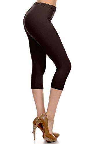 NCPR128-BROWN Capri Solid Leggings, One Size