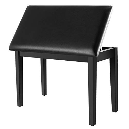 Neewer Wooden Duet Piano Bench with Padded Leather Cushion for Deluxe Comfort and Bulid-in Flip-Top Seat Extra Storage Compartment for Music Books and Other Accessories, Black