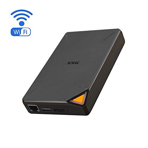 SSK 1TB Personal Cloud External Wireless Hard Drive Portable NAS Storage with WiFi Hotspot for Travel, Support Auto-Backup Connect SD Card Reader Share Data for iPhone iPad Tablet Smart Phone Laptop