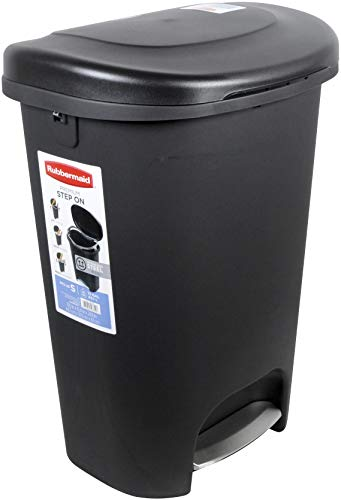 Rubbermaid Step-On Lid Trash Can for Home, Kitchen, and Bathroom Garbage, 13 Gallon, Black
