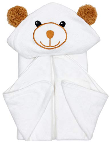 Bamboo Baby Bath Towel - Ultra Absorbent Soft Baby Hooded Towels for Infant and Toddler - Cute Design Keep Warm Newborn Towel - Baby Essentials Perfect for Boy and Girl-White-30x30''