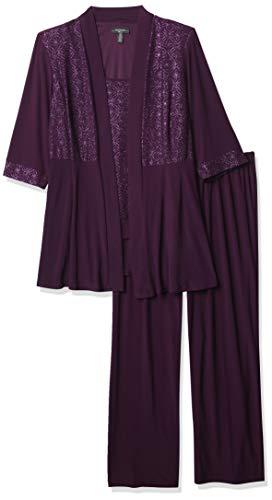 R&M Richards Women's Plus Size Two Piece Glitter and Lace Pant Set Large, Plum, 20W