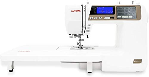 Janome 4120QDC Computerized Sewing Machine (New 2020 Tan Color) w/Hard Case + Extension Table + Instructional DVD + 1/4' Seam Foot w/Guide + Overedge Foot + Zig Zag Foot + Buttonhole Foot + More!