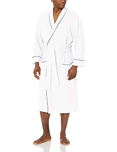 Amazon Essentials Men's Waffle Shawl Robe, -White, XL/XXL