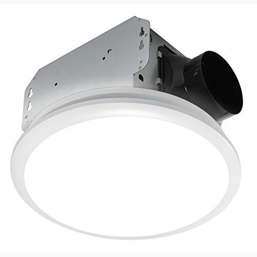 Homewerks Worldwide 7141-80 Bathroom Fan Integrated LED Light Ceiling Mount Exhaust Ventilation 1.5 Sones 80 CFM, White