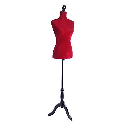 SSLine Red Female Dress Form Mannequin Torso Manikin Women Clothing Form Dress Display Model Half-Body Mannequin with Stand Base