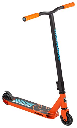 Mongoose Rise 100 Youth and Adult Freestyle Kick Scooter, High Impact 110mm Wheels, Bike-Style Grips, Lightweight Alloy Deck, Orange/Blue