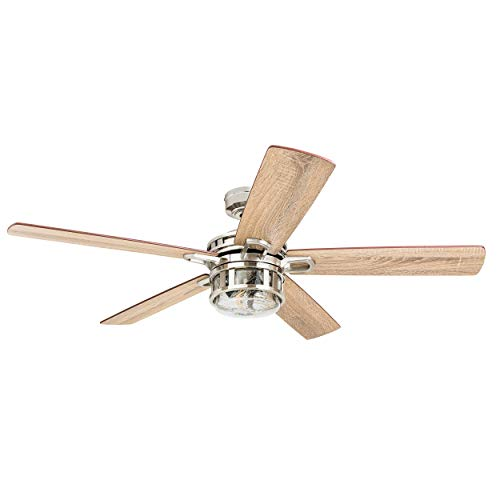 Honeywell Ceiling Fans 50610-01 Bonterra Ceiling Fan with Remote Control, Rustic LED Edison Light Fixture, 52' Indoor Farmhouse Ancient Pine/Bamboo Blades, Brushed Nickel