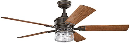 Kichler 310140OZ, Lyndon Patio Olde Bronze 60' Outdoor Ceiling Fan with Light & Wall Control