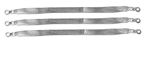 12' x 1/2' Braided Ground Straps (1/4' Ring to 1/4' Ring)-3pcs