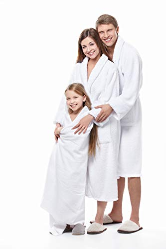 Luxury Bathrobe Towel, Spa Robe Combed Terry Cotton Organic Cloth for Men Women, Cotton Lightweight, Unisex White, Large (All Size Fit)
