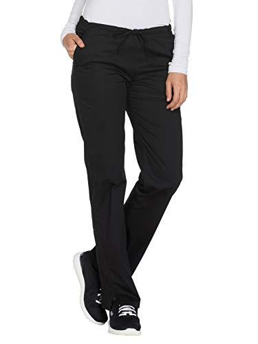 Cherokee Workwear Core Stretch Mid Rise Straight Leg Drawstring Scrub Pant, XS Petite, Black