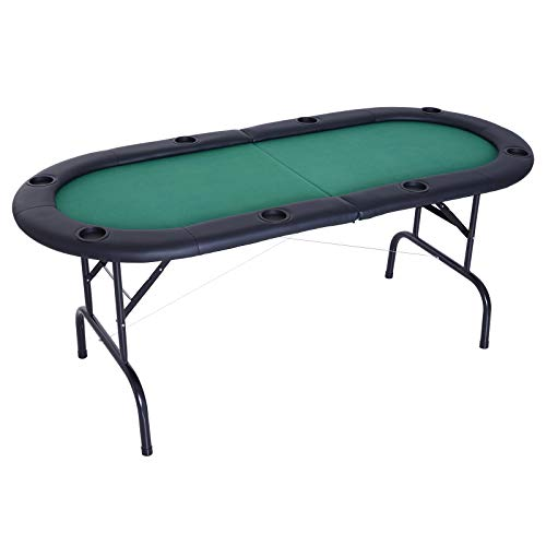 Soozier 72' 8 Player Octagon Poker Table with Cup Holders Folding Green Top