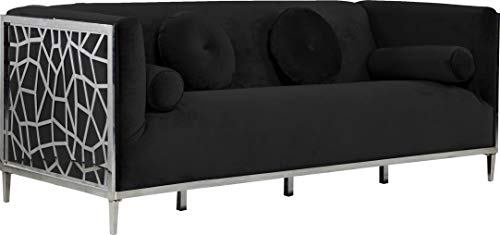 Meridian Furniture Opal Collection Modern | Contemporary Velvet Upholstered Sofa with Intricate Chrome Stainless Steel Design, Black, 83' W x 33.5' D x 30.5' H