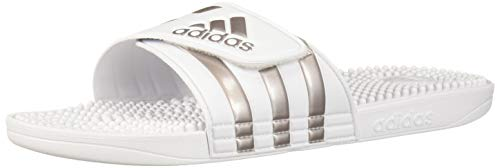 adidas Adissage Sandal, White/Platinum Metallic/White, 18 Medium US