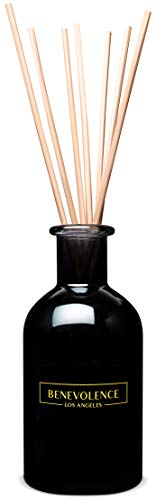 Benevolence LA Reed Diffuser Set | Inviting Rose & Sandalwood Scented Diffuser Sticks | Aromatherapy Oil Scented Oil Reed Diffuser | Relaxing Fragrance Diffuser for Your Home, Apartment & Office