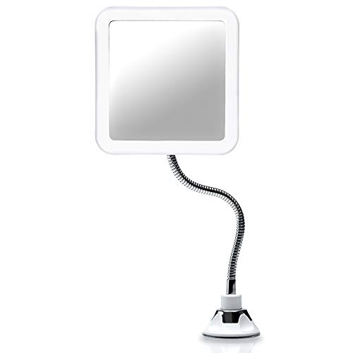 Fancii Flexible Magnifying Mirror 10X with LED Light and Gooseneck, Lighted Travel Makeup Mirror, Lock Suction, Natural Daylight LED, Cordless and Portable (Mira Plus)