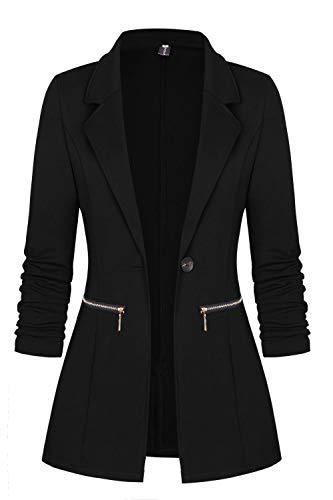 Genhoo Women's Long Sleeve Blazer Open Front Cardigan Jacket Work Office Blazer with Zipper Pockets (XX-Large, Black)