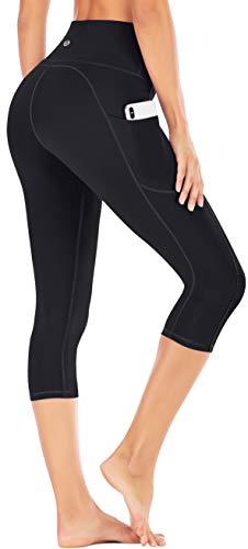 IUGA High Waisted Yoga Pants for Women with Pockets Capri Leggings for Women Workout Leggings for Women Yoga Capris (Black, M)