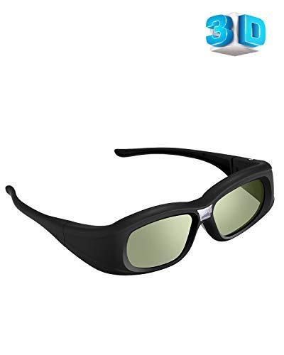 Elikliv 144 Hz DLP Link 3D Glasses, Rechargeable 3D Active Shutter Glasses for 3D DLP Projectors, Compatible with Acer, ViewSonic, BenQ, Vivitek, Optoma, Panasonic, Dell, Viewsonic
