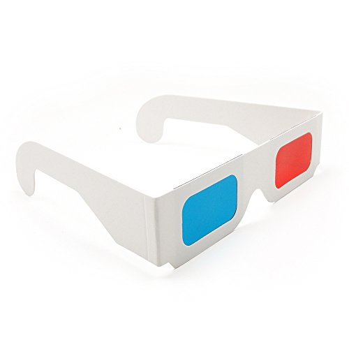 Blue Handcart 12 Pairs of Red/Cyan Cardboard 3D Glasses - White Frame
