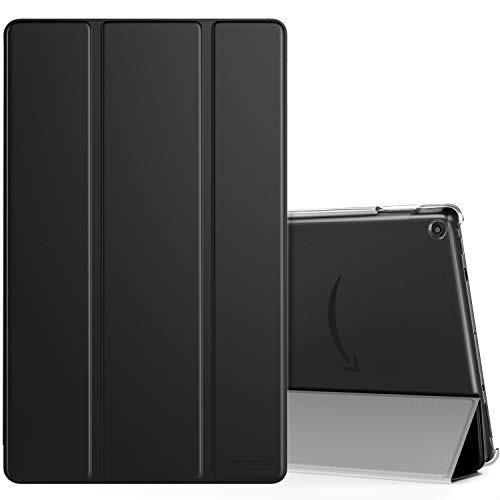 MoKo Case Fits All-New Fire HD 10 (7th Generation and 9th Generation, 2017 and 2019 Release), Smart Shell Stand Cover with Translucent Frosted Back for Fire HD 10.1 Inch, Black
