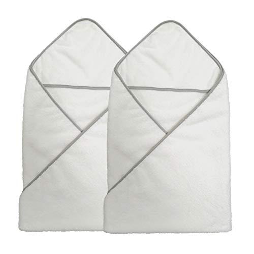 Polyte Premium Hypoallergenic Microfiber Hooded Baby Bath Towel, 36 x 36 in, 2 Pack (White)