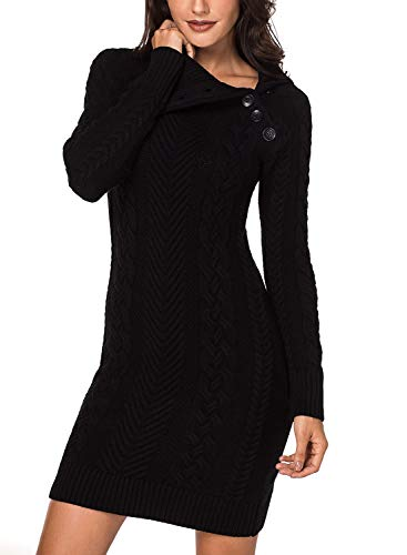 Azokoe Women Asymmetric Buttoned Cable Knit Bodycon Slim Fit Mini Sweater Dress Jumper Black M