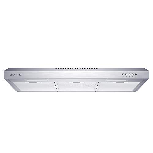 CIARRA CAS75918A 200 CFM Under Cabinet Range Hood, 30 inch Stove Hood in Stainless Steel, Kitchen Vent Hood with 3 Speed Exhaust Fan, Reusable Filters, Ducted/Ductless Convertible Duct, Push Button