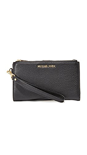 MICHAEL Michael Kors Women's Adele Double Zip Wristlet, Black, One Size