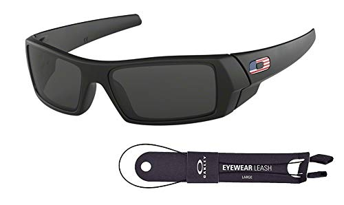 Oakley Gascan OO9014 Sunglasses For Men+BUNDLE with Oakley Accessory Leash Kit (Matte Black/Grey/USA Icon, 61)