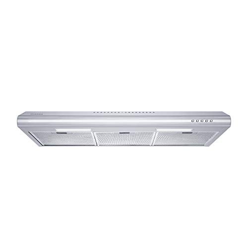 CIARRA CAS75918B Under-Cabinet Range Hood, 200 CFM Stove Hood with Ducted/Ductless Convertible, Slim Vent Hood with 3 Speed Exhaust Fan, 3 Aluminum Mesh filters, 2 Led Lights, Stainless Steel, Push Button