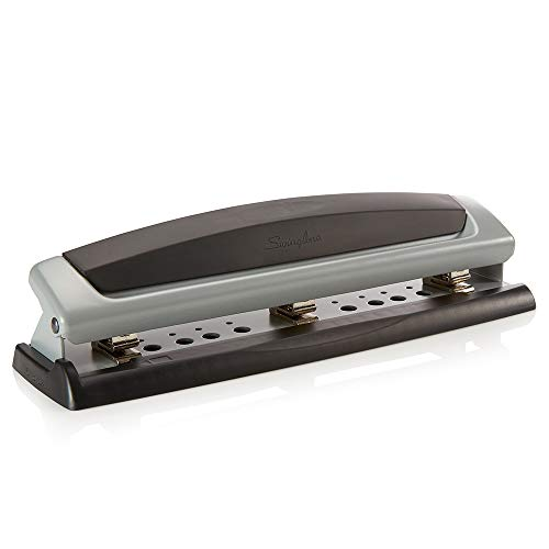 Swingline Desktop Hole Punch, Hole Puncher, Precision Pro, Adjustable, 2 to 3 Holes, 10 Sheet Punch Capacity, Black/Silver (74037)