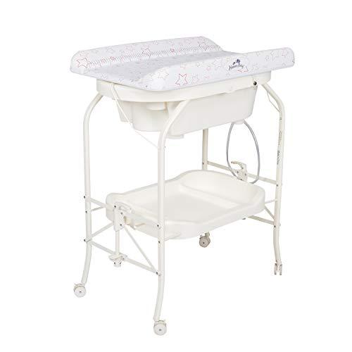 Kinbor Baby Bathinette Folding Changing Table Baby Diaper Station with Bath Tub Unit, Portable Children Baby Dresser Unit Infant Nursery Trays Storage
