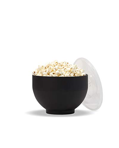 W&P Microwave Silicone Popcorn Popper Maker | Black | Collapsible Bowl, BPA Free, Eco-Friendly, Waste Free, 9.3 Cups of Popped Popcorn