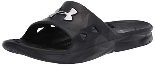 UNDER ARMOUR Men's Locker III Slide Sandal, Black (001)/Metallic Silver, 9