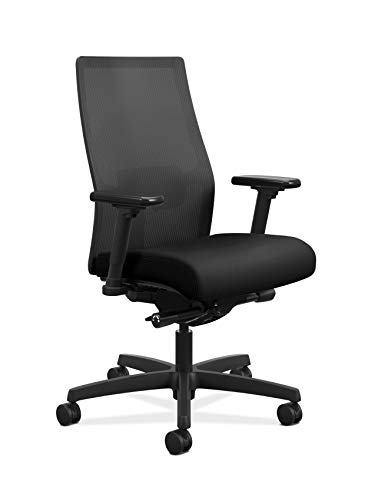 The HON Company HON Ignition 2.0 Mid-Back Adjustable Lumbar Work Mesh Computer Chair for Office Desk, Black Fabric (HONI2M2AMLC10TK)