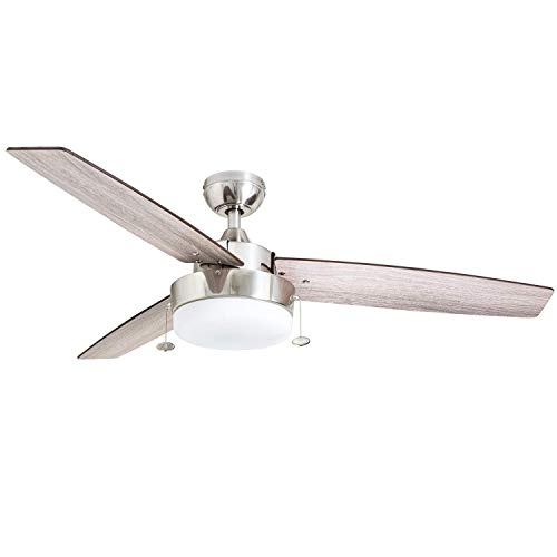 Prominence Home 51019 Statham Modern Farmhouse Ceiling Fan, 52', Brushed Nickel