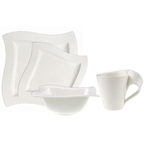 Villeroy & Boch New Wave 4-Piece Place Setting Dinner, Salad Plate, Bowl, and Mug – Premium Porcelain, Set of (Variable), Dinnerware