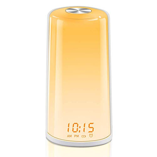 TITIROBA Wake-Up Light, Sunrise Simulation Alarm Clock, Digital LED Clock, Touch Control, 5 Natural Sounds, Adjustable Lightness for Kids and Adults, MY-10