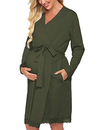OURS Women's Robe Maternity Delivery Sleepwear Long Sleeve Nursing Nightgown Cotton Bathrobes (Army Green, M)