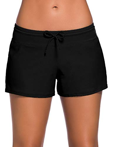 ChinFun Board Shorts Women's Swimswear Tankini Swim Briefs Side Split Swimsuit Bottom Waistband Stretch Boardshorts Beach Trunks Inner Lining Black Size L