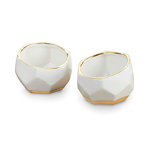 Kate Aspen Geometric Ceramic Planters Decorative Bowls (Set of 2) Trinket Dish, Home, Room, Desk, Table Décor, One Size, White