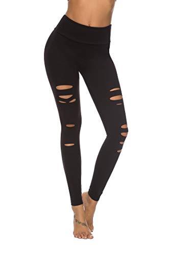 DIBAOLONG Womens High Waist Yoga Pants Cutout Ripped Tummy Control Workout Running Yoga Skinny LeggingsBlack XL