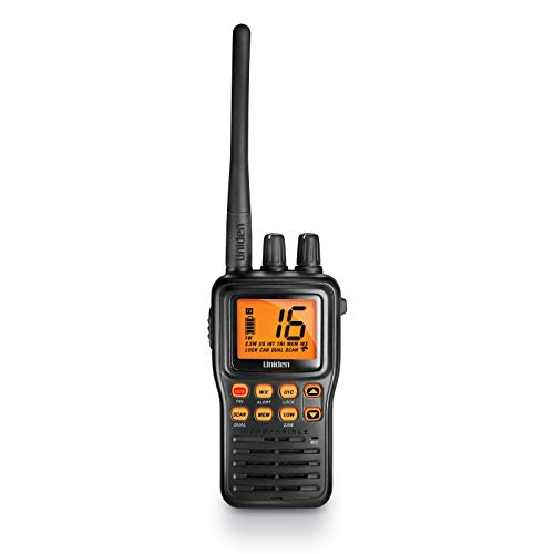Uniden MHS75 Waterproof Handheld 2-Way VHF Marine radio, Submersible, Selectable 1/2.5/5 Watt Transmit Power. All USA/International and Canadian Marine Channels - Color Black
