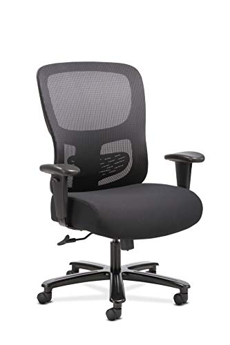Sadie Big and Tall Office Computer Chair, Height Adjustable Arms with Adjustable Lumbar, Black (HVST141)